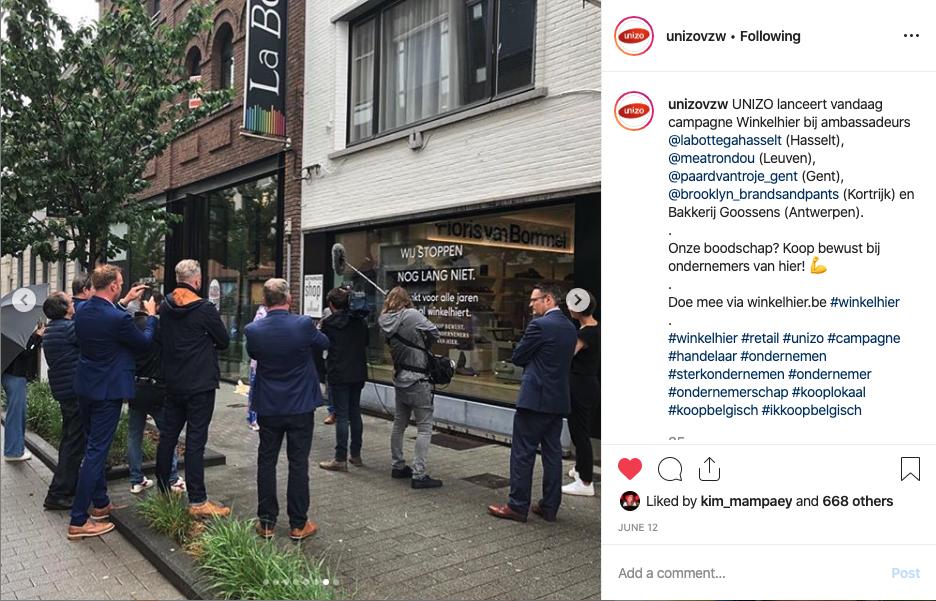 UNIZO Winkelhier campagne met Winkelhier ambassadeurs